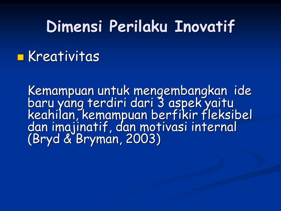 Dimensi Perilaku Inovatif Pengambilan resiko Pengambilan resiko Kemampuan untuk mendorong ide baru, menghadapi rintangan yang ada sehingga pengambilan resiko merupakan cara mewujudkan ide yang kreatif menjadi realitas (Bryd & Brown, 2003)