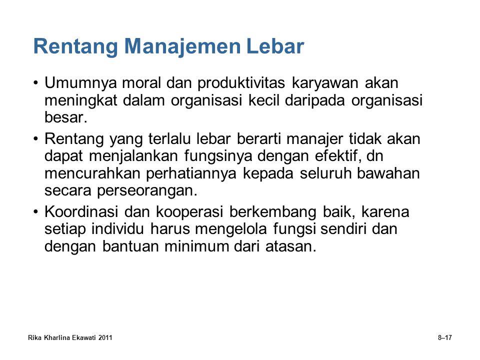 Rika Kharlina Ekawati 20118–17 Rentang Manajemen Lebar Umumnya moral dan produktivitas karyawan akan meningkat dalam organisasi kecil daripada organis