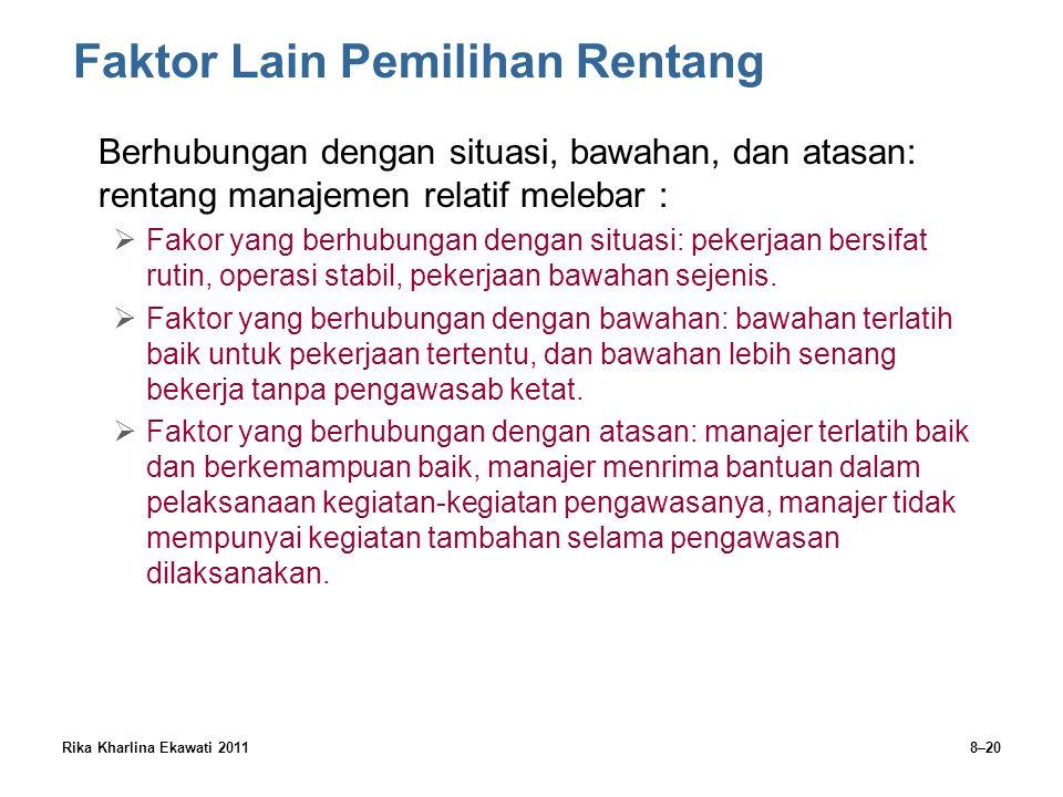 Rika Kharlina Ekawati 20118–20 Faktor Lain Pemilihan Rentang Berhubungan dengan situasi, bawahan, dan atasan: rentang manajemen relatif melebar :  Fa
