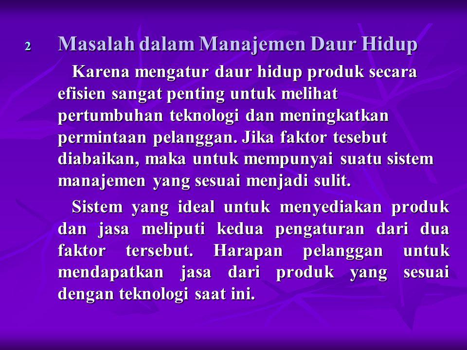 2 Masalah dalam Manajemen Daur Hidup Karena mengatur daur hidup produk secara efisien sangat penting untuk melihat pertumbuhan teknologi dan meningkatkan permintaan pelanggan.