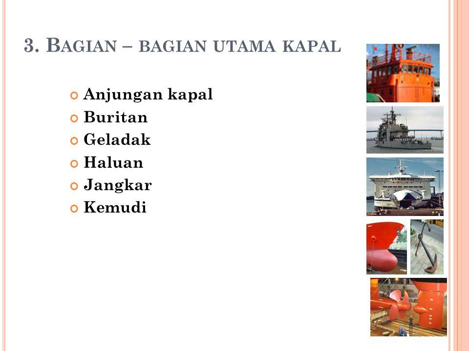 3. B AGIAN – BAGIAN UTAMA KAPAL Anjungan kapal Buritan Geladak Haluan Jangkar Kemudi