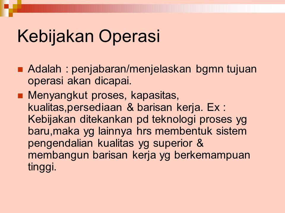 Kebijakan Operasi Adalah : penjabaran/menjelaskan bgmn tujuan operasi akan dicapai. Menyangkut proses, kapasitas, kualitas,persediaan & barisan kerja.
