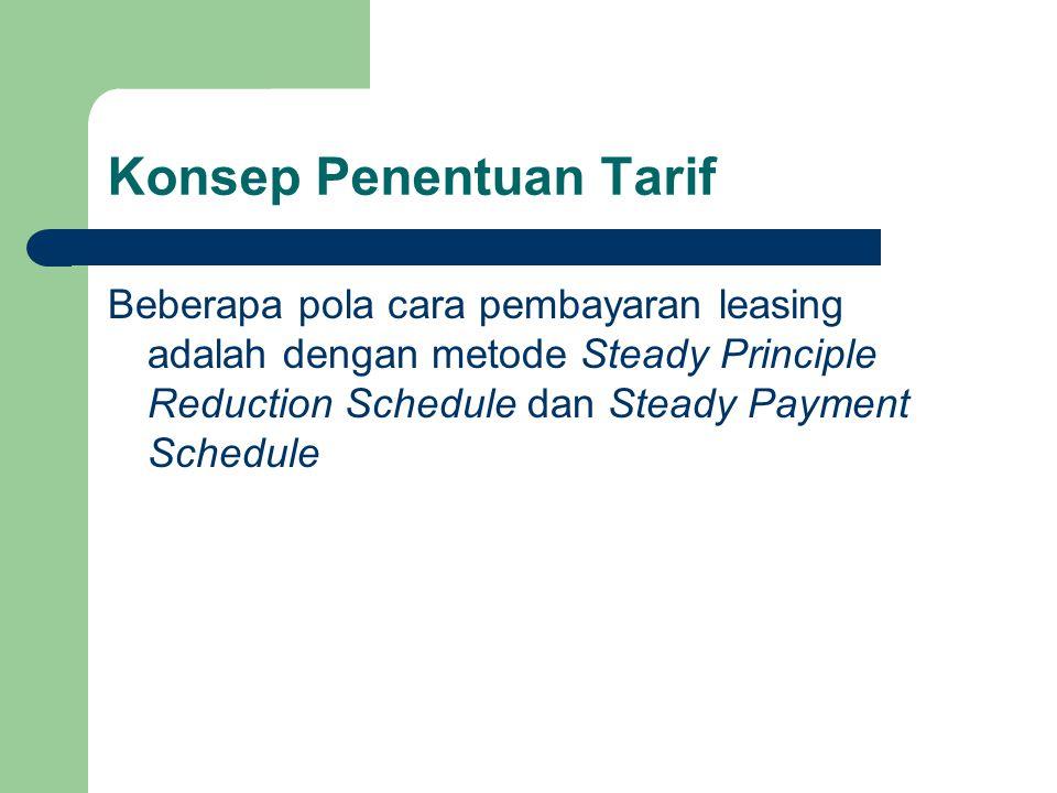 Konsep Penentuan Tarif Beberapa pola cara pembayaran leasing adalah dengan metode Steady Principle Reduction Schedule dan Steady Payment Schedule
