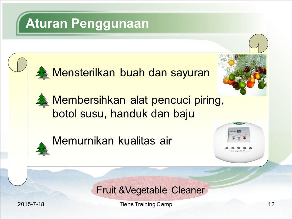 2015-7-18Tiens Training Camp12 Aturan Penggunaan Fruit &Vegetable Cleaner Mensterilkan buah dan sayuran Membersihkan alat pencuci piring, botol susu,