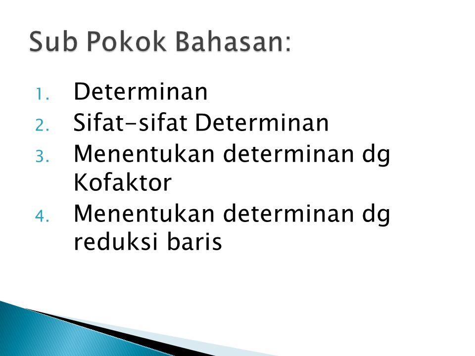 1. Determinan 2. Sifat-sifat Determinan 3. Menentukan determinan dg Kofaktor 4. Menentukan determinan dg reduksi baris