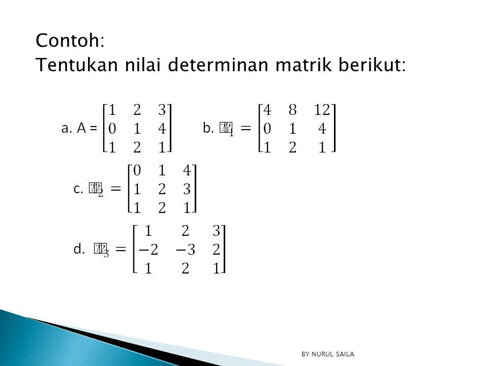 Contoh: Tentukan nilai determinan matrik berikut: BY NURUL SAILA