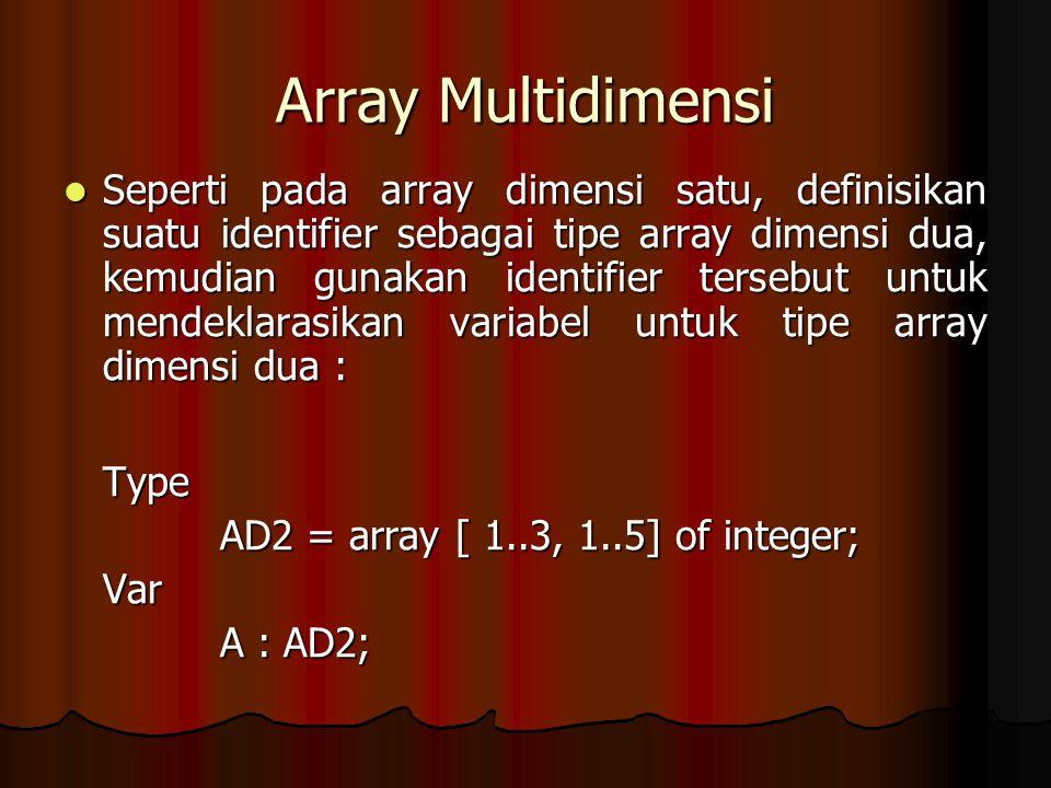 Array Multidimensi Seperti pada array dimensi satu, definisikan suatu identifier sebagai tipe array dimensi dua, kemudian gunakan identifier tersebut