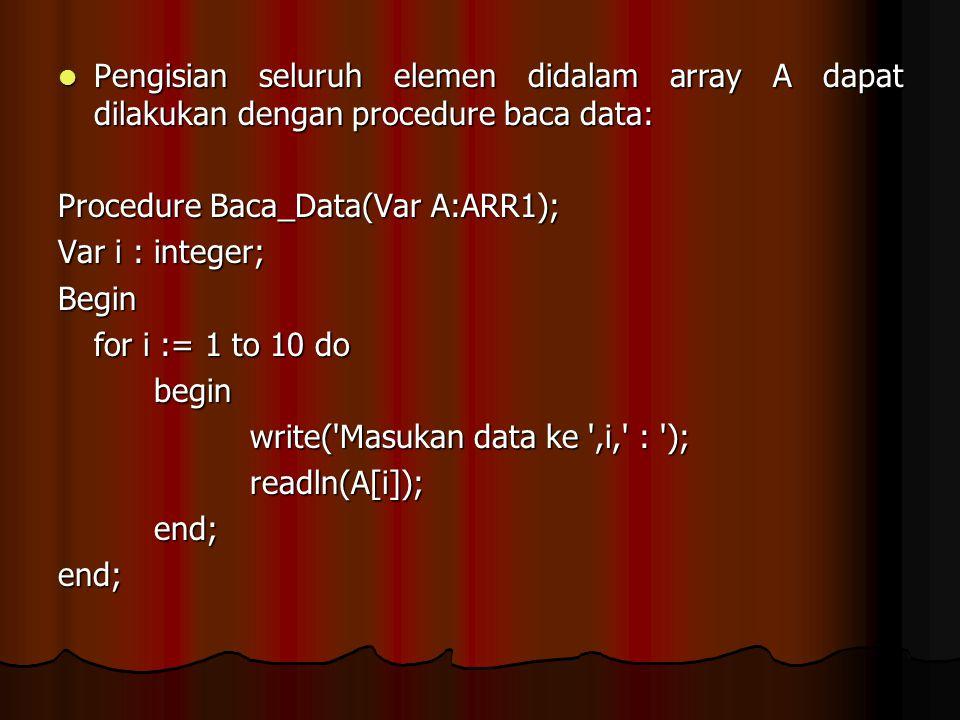 Pengisian seluruh elemen didalam array A dapat dilakukan dengan procedure baca data: Pengisian seluruh elemen didalam array A dapat dilakukan dengan p