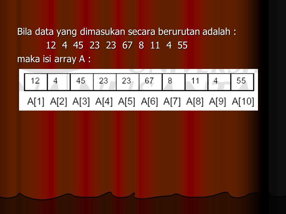 Bila data yang dimasukan secara berurutan adalah : 12 4 45 23 23 67 8 11 4 55 maka isi array A :