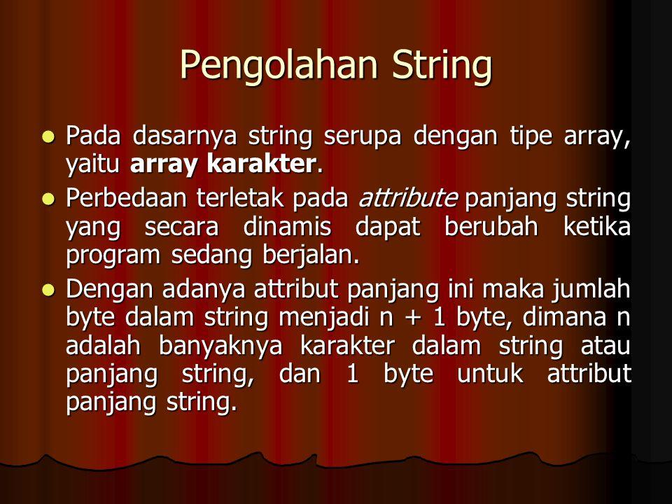 Pengolahan String Pada dasarnya string serupa dengan tipe array, yaitu array karakter. Pada dasarnya string serupa dengan tipe array, yaitu array kara