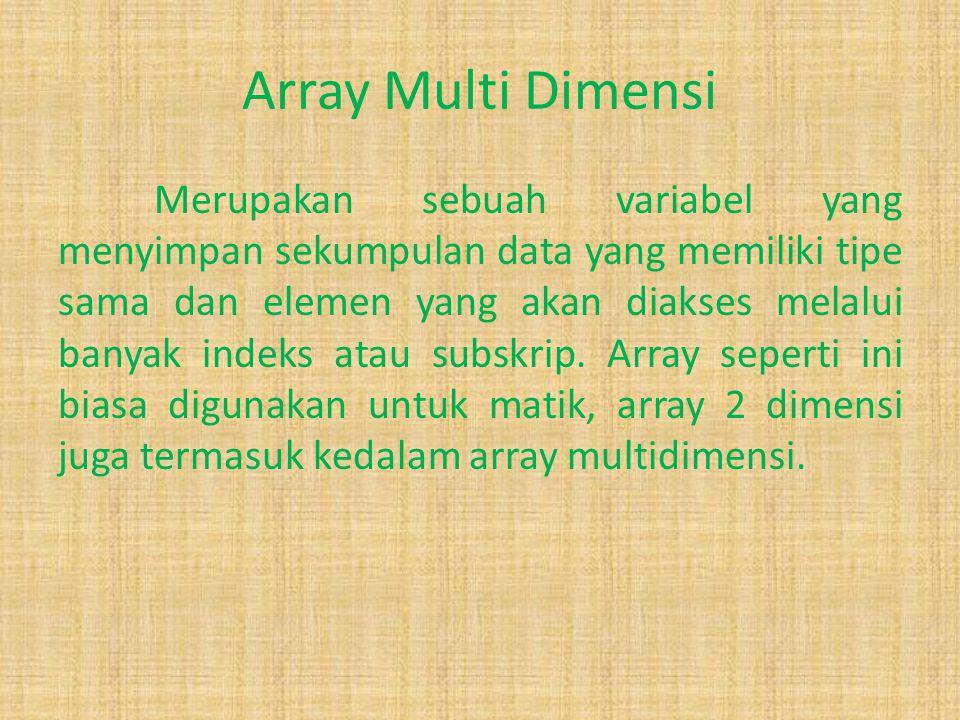 Array Dalam dunia pemrograman, sering kali terdapat data yang majemuk yang terhubung dalam satu domain tertentu, misalnya nama hari dalam satu minggu,