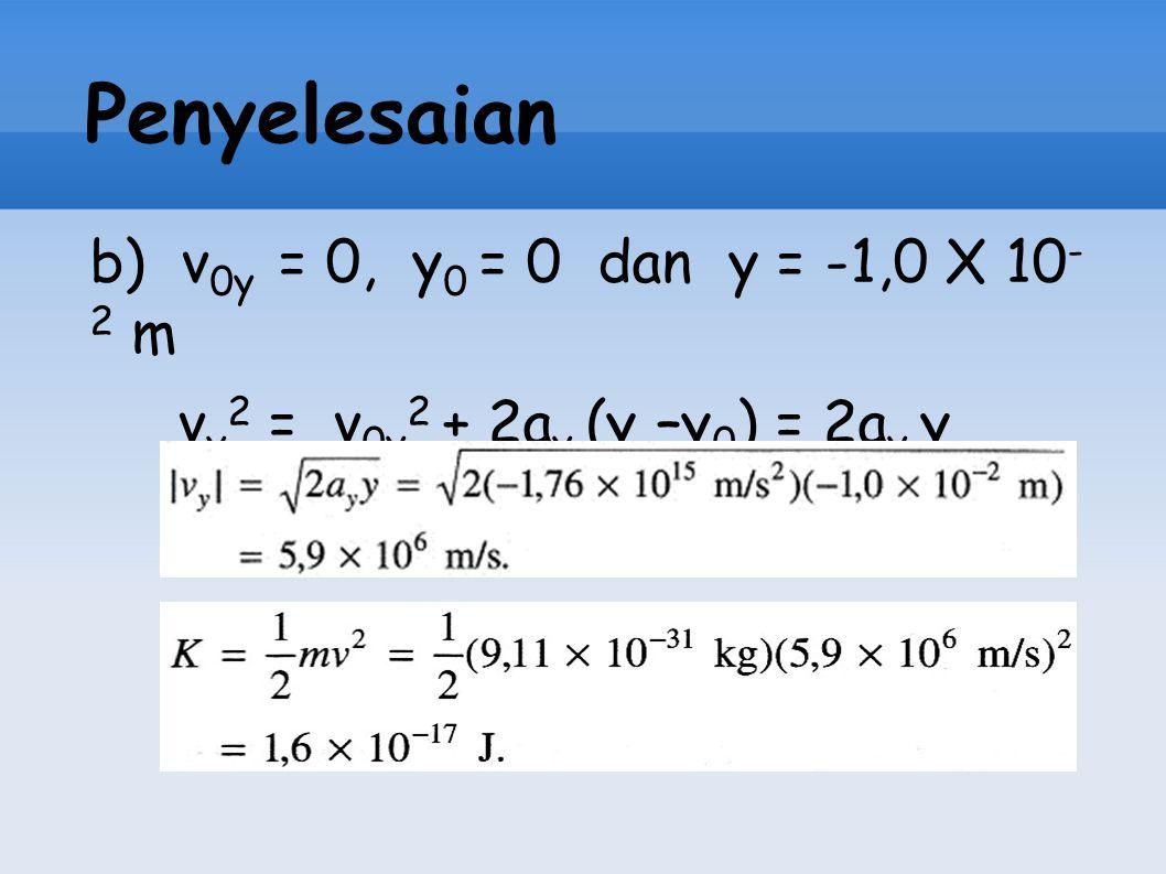 Penyelesaian b) v 0y = 0, y 0 = 0 dan y = -1,0 X 10 - 2 m v y 2 = v 0y 2 + 2a y (y –y 0 ) = 2a y y