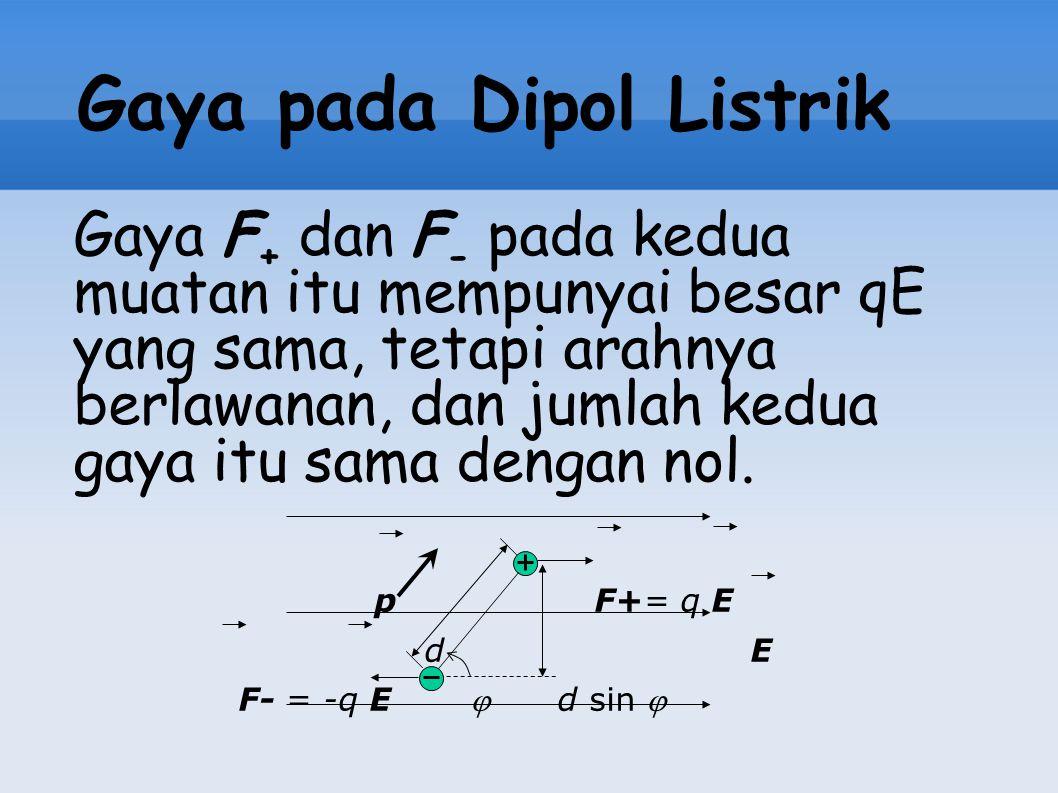 Gaya pada Dipol Listrik Gaya F + dan F - pada kedua muatan itu mempunyai besar qE yang sama, tetapi arahnya berlawanan, dan jumlah kedua gaya itu sama