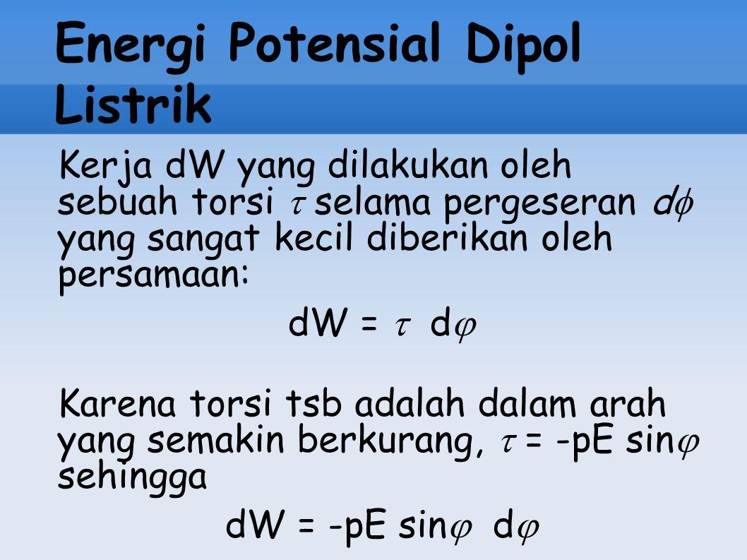 Energi Potensial Dipol Listrik Kerja dW yang dilakukan oleh sebuah torsi  selama pergeseran d  yang sangat kecil diberikan oleh persamaan: dW =  d