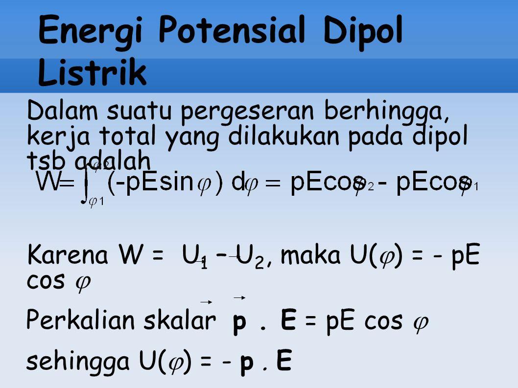 Energi Potensial Dipol Listrik Dalam suatu pergeseran berhingga, kerja total yang dilakukan pada dipol tsb adalah Karena W = U 1 – U 2, maka U(  ) =
