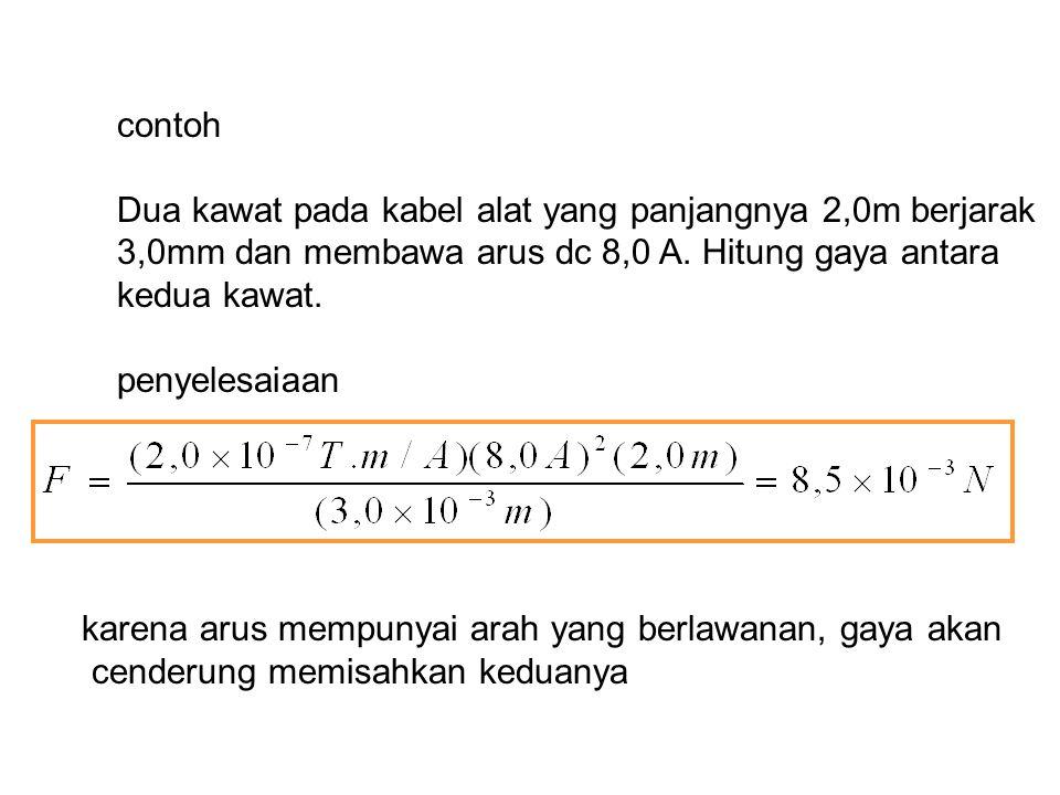 Gaya antara dua kawat pararel L = jarak antara kawat l = panjang kawat