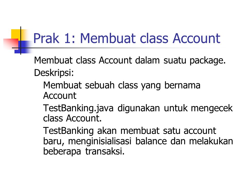 Membuat class Account