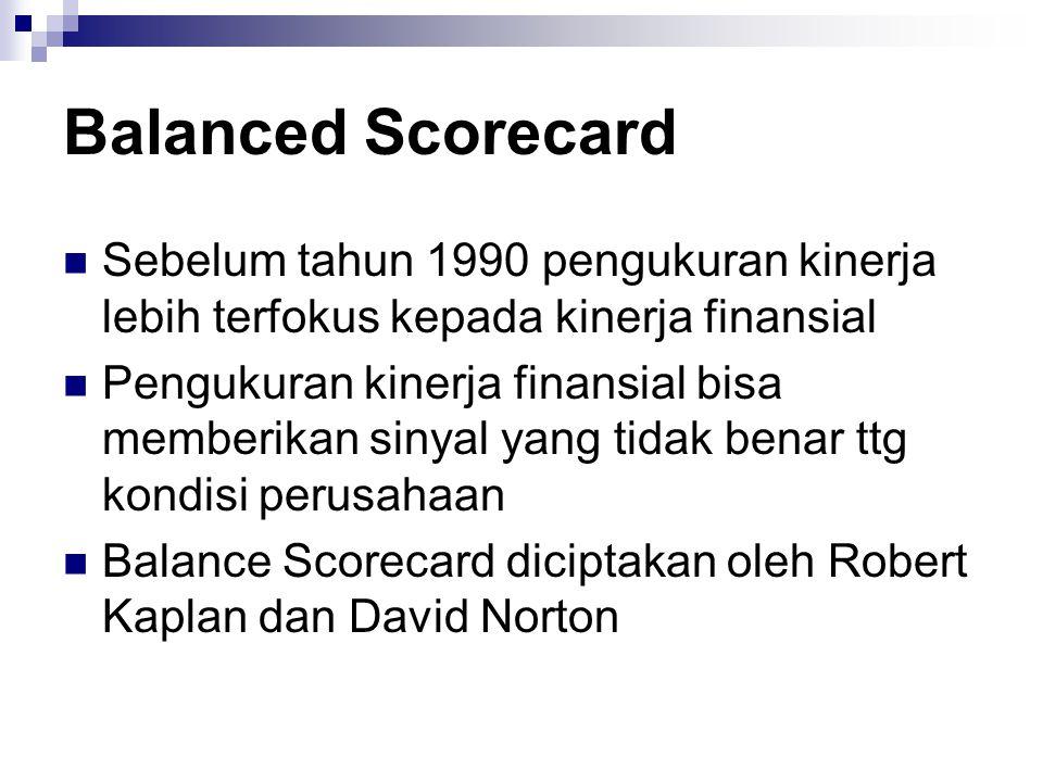 Sebelum tahun 1990 pengukuran kinerja lebih terfokus kepada kinerja finansial Pengukuran kinerja finansial bisa memberikan sinyal yang tidak benar ttg