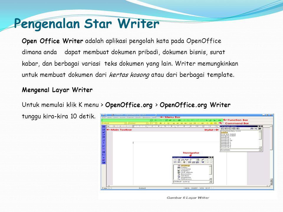 Pengenalan Star Writer Open Office Writer adalah aplikasi pengolah kata pada OpenOffice dimana anda dapat membuat dokumen pribadi, dokumen bisnis, sur
