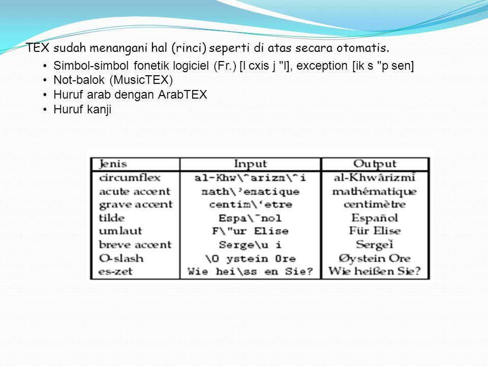 TEX sudah menangani hal (rinci) seperti di atas secara otomatis. Simbol-simbol fonetik logiciel (Fr.) [l cxis j