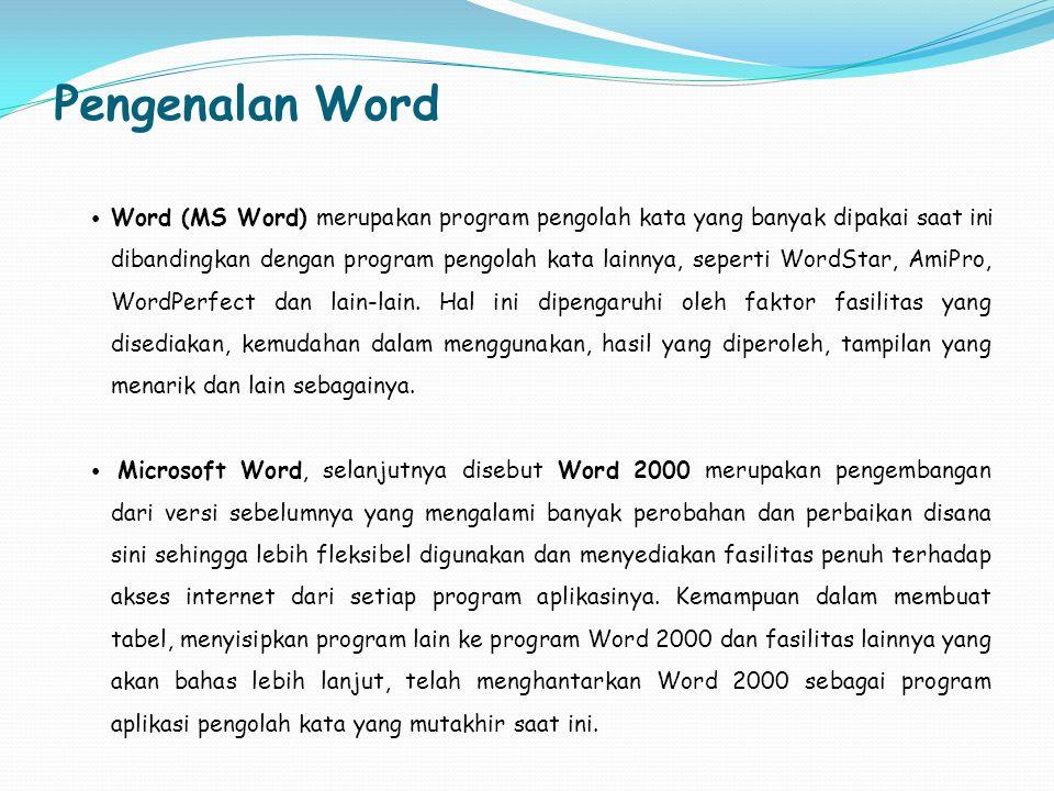 Pengenalan Word Word (MS Word) merupakan program pengolah kata yang banyak dipakai saat ini dibandingkan dengan program pengolah kata lainnya, seperti