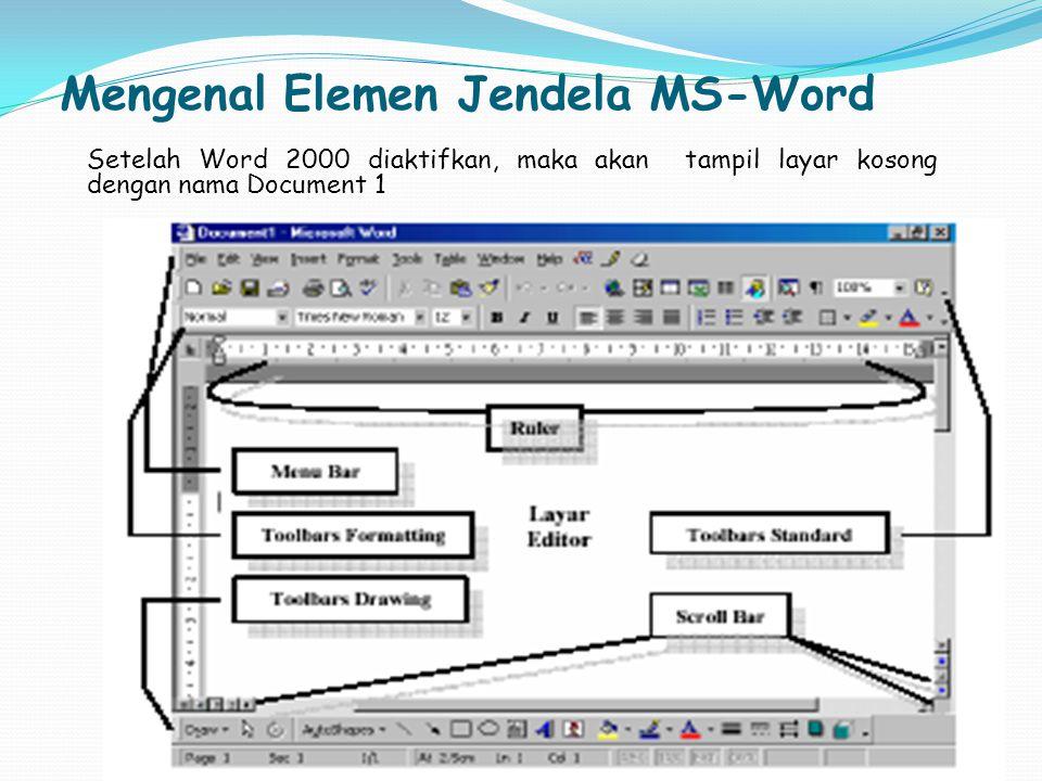 Mengenal Elemen Jendela MS-Word Setelah Word 2000 diaktifkan, maka akan tampil layar kosong dengan nama Document 1