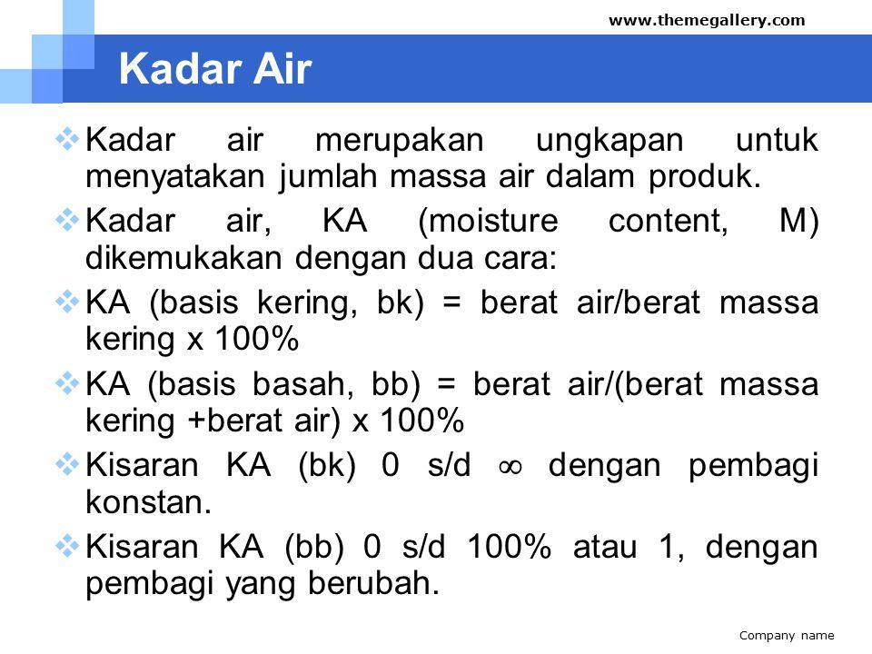 Kadar Air  Kadar air merupakan ungkapan untuk menyatakan jumlah massa air dalam produk.