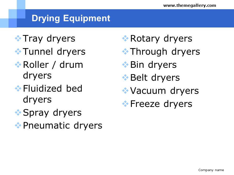 Drying Equipment  Tray dryers  Tunnel dryers  Roller / drum dryers  Fluidized bed dryers  Spray dryers  Pneumatic dryers  Rotary dryers  Throu