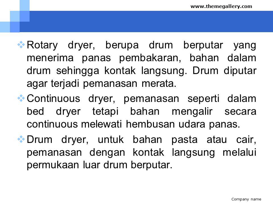  Rotary dryer, berupa drum berputar yang menerima panas pembakaran, bahan dalam drum sehingga kontak langsung.