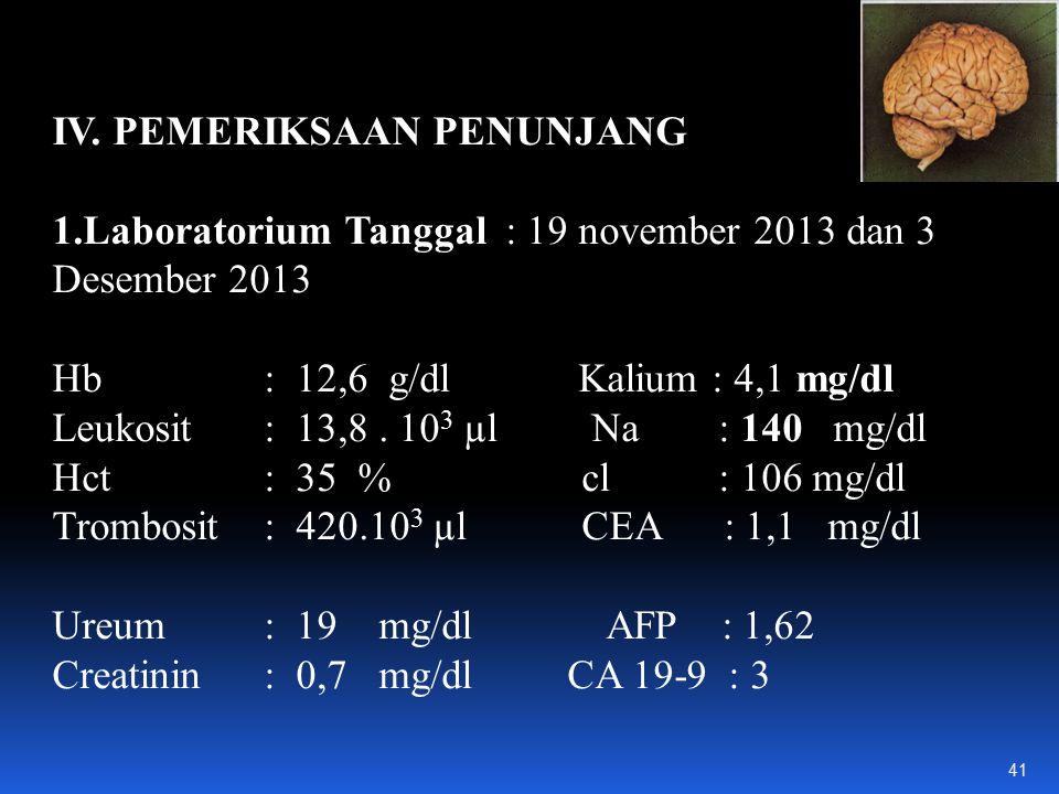 IV. PEMERIKSAAN PENUNJANG 1.Laboratorium Tanggal : 19 november 2013 dan 3 Desember 2013 Hb : 12,6 g/dl Kalium : 4,1 mg/dl Leukosit : 13,8. 10 3 µl Na