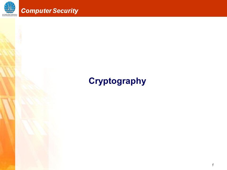22 Computer Security Blocking Sistem enkripsi terkadang membagi plaintext menjadi blok ‐ blok yang terdiri dari beberapa karakter yang kemudian dienkripsikan secara independen.