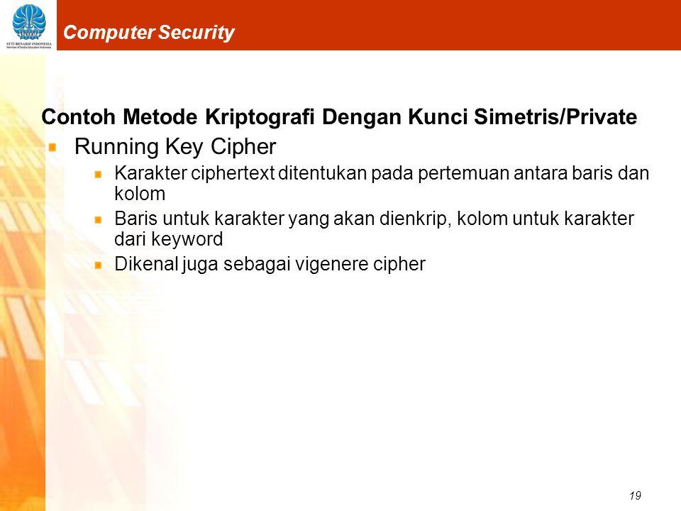 19 Computer Security Contoh Metode Kriptografi Dengan Kunci Simetris/Private Running Key Cipher Karakter ciphertext ditentukan pada pertemuan antara b
