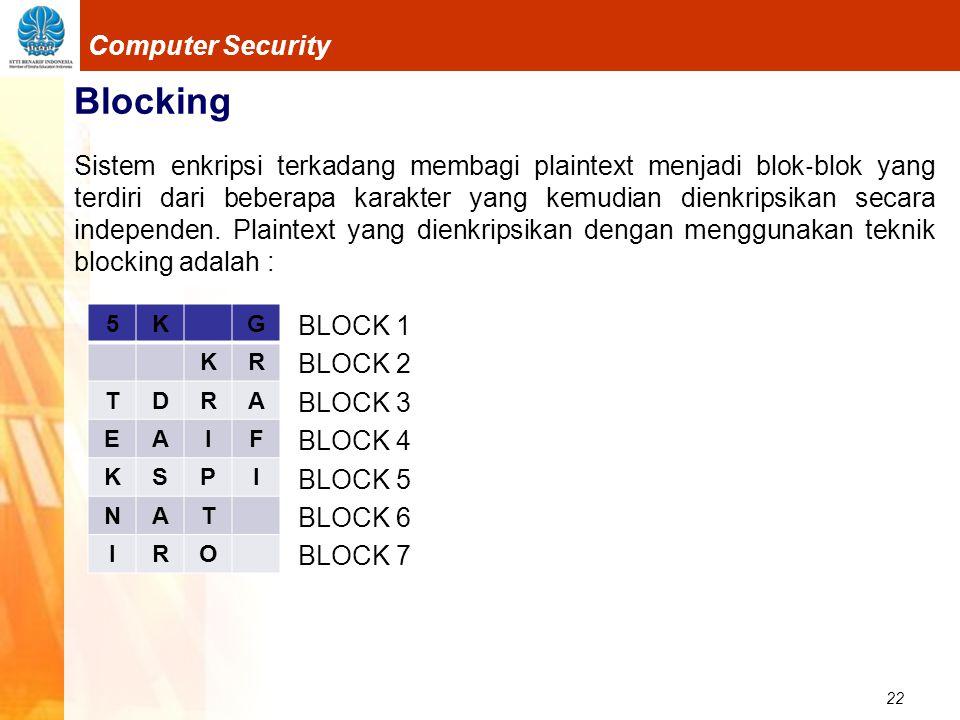 22 Computer Security Blocking Sistem enkripsi terkadang membagi plaintext menjadi blok ‐ blok yang terdiri dari beberapa karakter yang kemudian dienkr