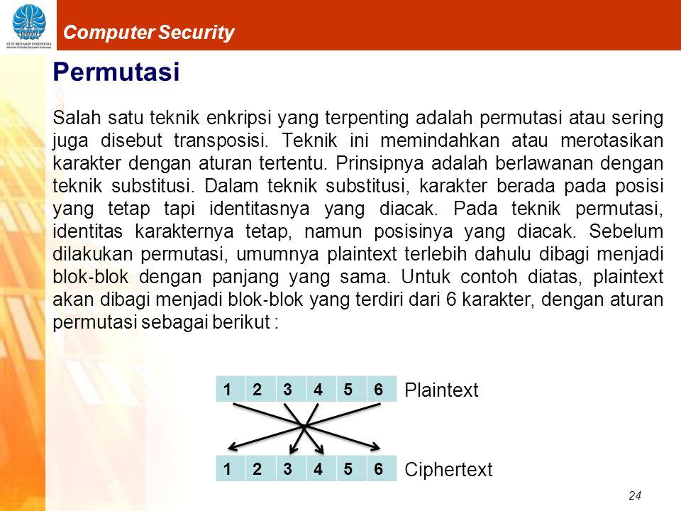 24 Computer Security Permutasi Salah satu teknik enkripsi yang terpenting adalah permutasi atau sering juga disebut transposisi. Teknik ini memindahka