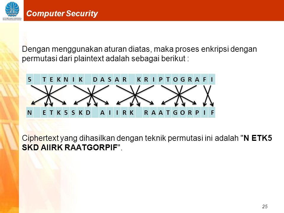 25 Computer Security Dengan menggunakan aturan diatas, maka proses enkripsi dengan permutasi dari plaintext adalah sebagai berikut : Ciphertext yang d