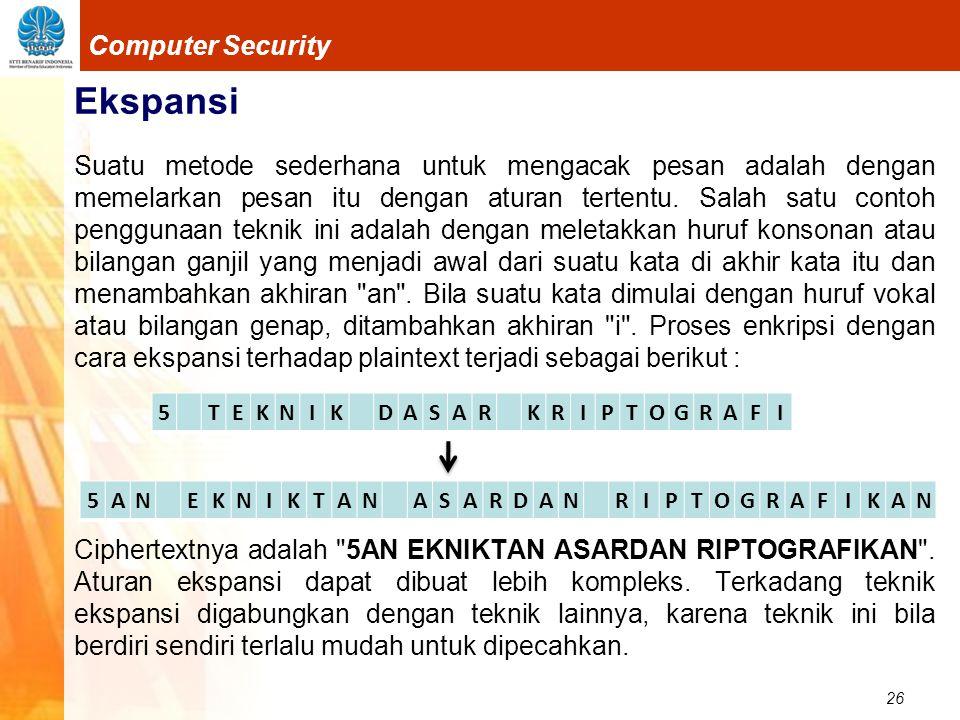 26 Computer Security Ekspansi Suatu metode sederhana untuk mengacak pesan adalah dengan memelarkan pesan itu dengan aturan tertentu. Salah satu contoh