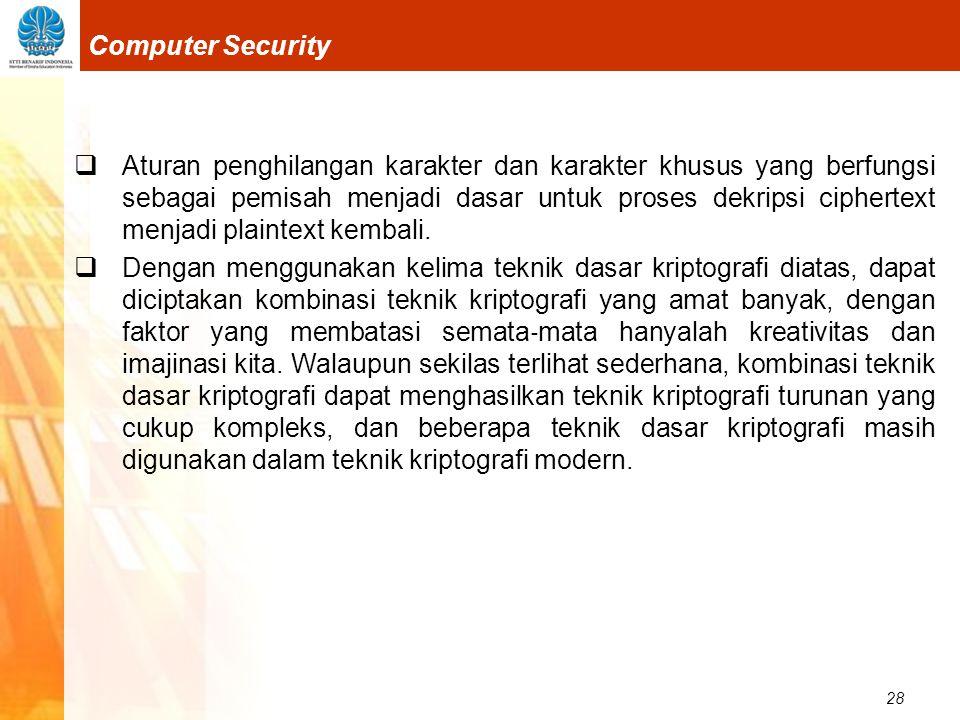 28 Computer Security  Aturan penghilangan karakter dan karakter khusus yang berfungsi sebagai pemisah menjadi dasar untuk proses dekripsi ciphertext