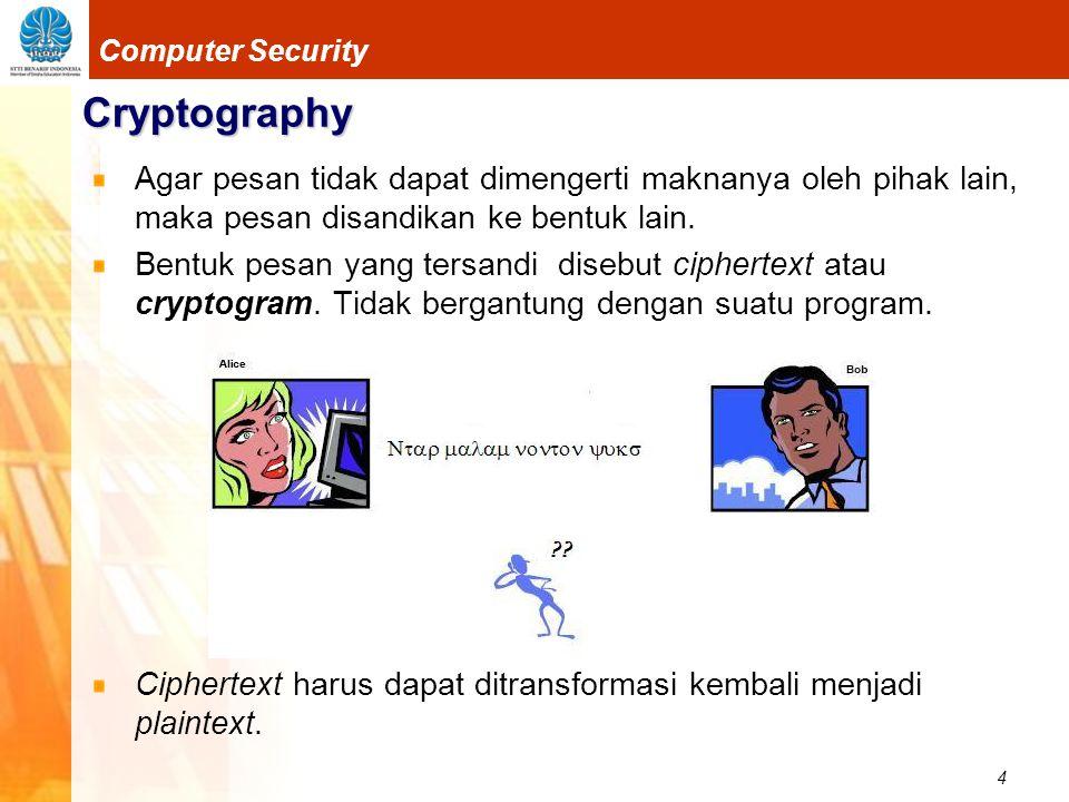 5 Computer Security Cryptography Proses menyandikan plaintext menjadi ciphertext disebut enkripsi (encryption) atau enciphering Proses mengembalikan ciphertext menjadi plaintextnya disebut dekripsi (decryption) atau deciphering plaintext ciphertext plaintext semula plaintext ciphertext plaintext semula enkripsi dekripsi enkripsi dekripsi