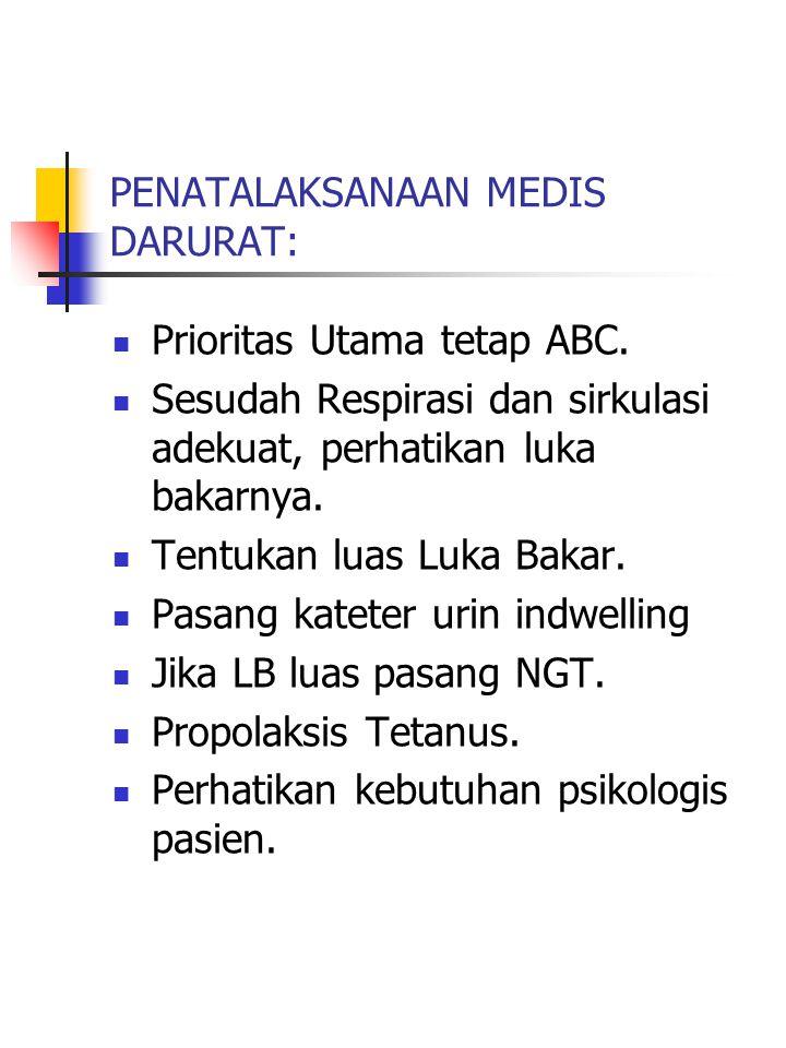 PENATALAKSANAAN MEDIS DARURAT: Prioritas Utama tetap ABC.