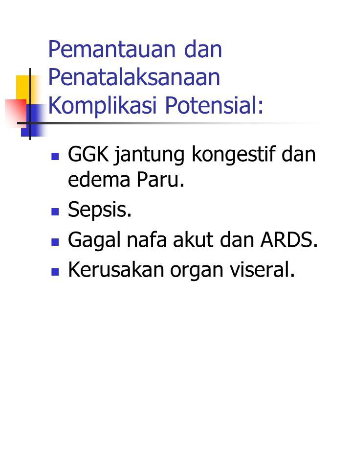 Pemantauan dan Penatalaksanaan Komplikasi Potensial: GGK jantung kongestif dan edema Paru.