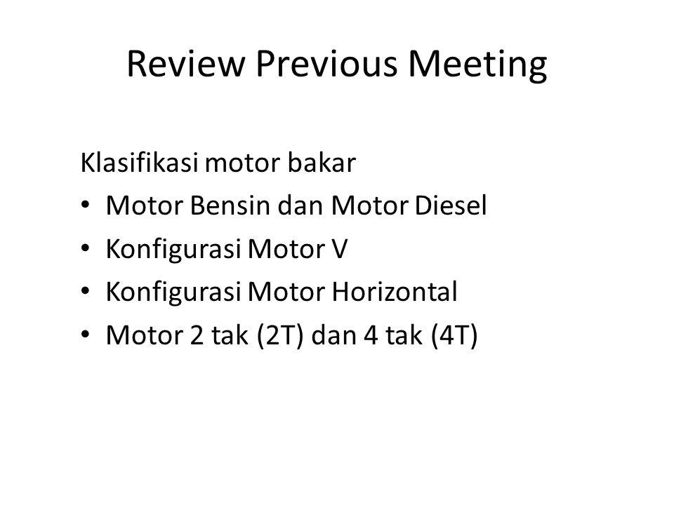 Review Previous Meeting Klasifikasi motor bakar Motor Bensin dan Motor Diesel Konfigurasi Motor V Konfigurasi Motor Horizontal Motor 2 tak (2T) dan 4 tak (4T)