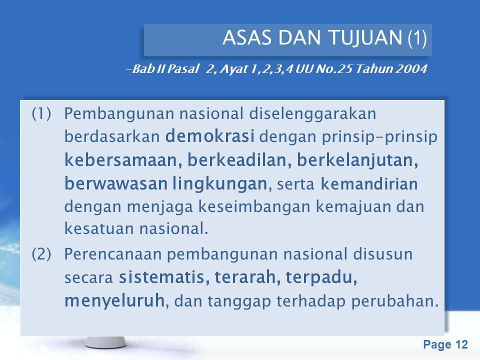Free Powerpoint Templates Page 12 ASAS DAN TUJUAN (1) (1) Pembangunan nasional diselenggarakan berdasarkan demokrasi dengan prinsip-prinsip kebersamaa