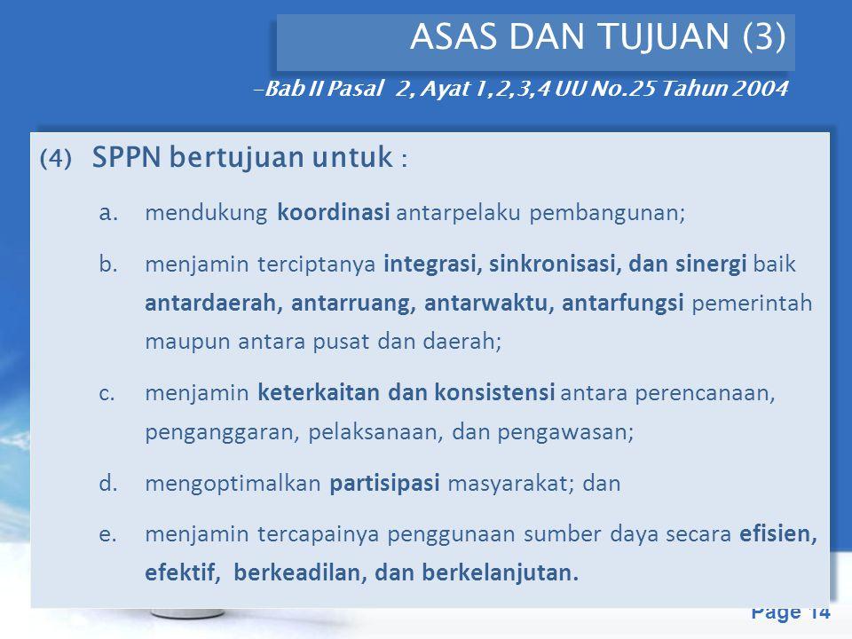 Free Powerpoint Templates Page 14 ASAS DAN TUJUAN (3) (4) SPPN bertujuan untuk : a. mendukung koordinasi antarpelaku pembangunan; b.menjamin terciptan