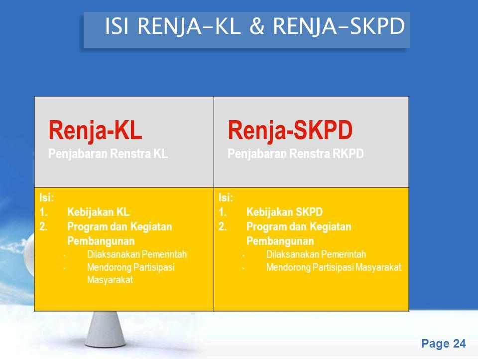 Free Powerpoint Templates Page 24 ISI RENJA-KL & RENJA-SKPD Renja-KL Penjabaran Renstra KL Renja-SKPD Penjabaran Renstra RKPD Isi: 1.Kebijakan KL 2.Pr