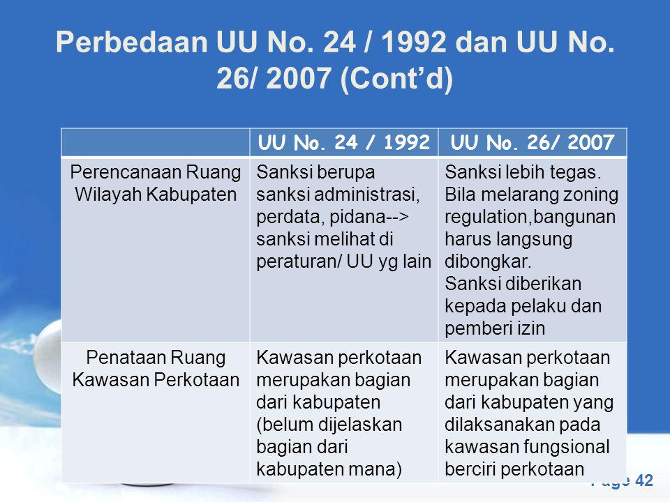 Free Powerpoint Templates Page 42 Perbedaan UU No. 24 / 1992 dan UU No. 26/ 2007 (Cont'd) UU No. 24 / 1992UU No. 26/ 2007 Perencanaan Ruang Wilayah Ka