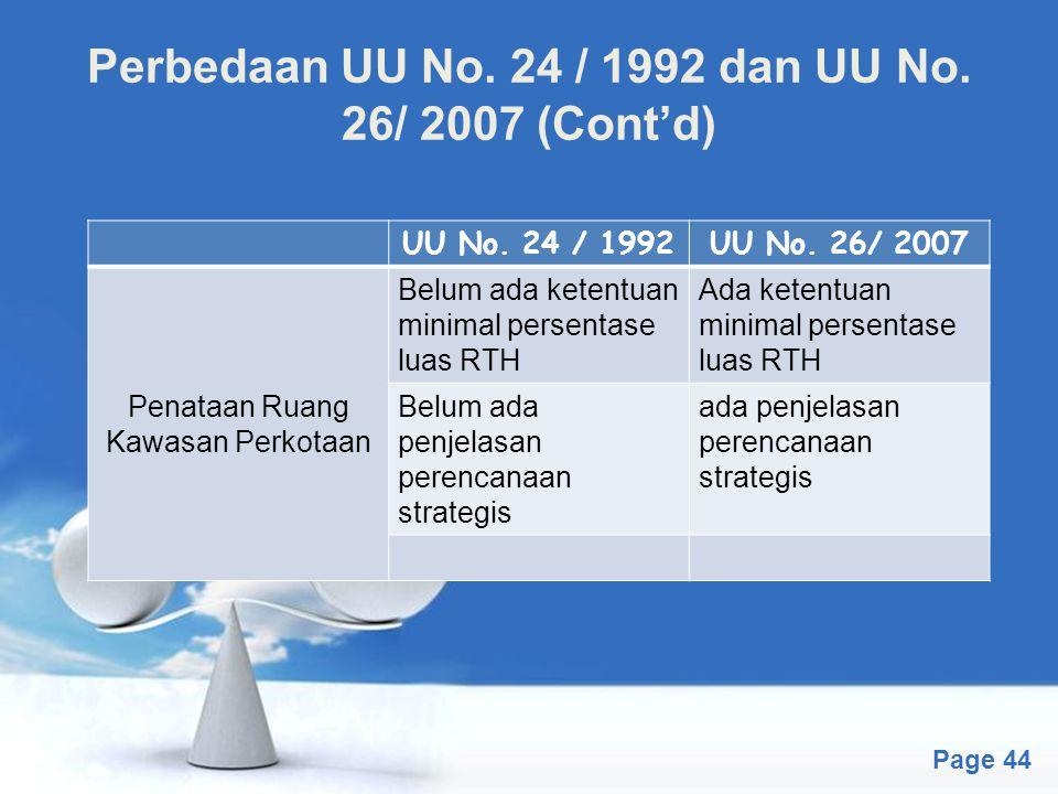 Free Powerpoint Templates Page 44 Perbedaan UU No. 24 / 1992 dan UU No. 26/ 2007 (Cont'd) UU No. 24 / 1992UU No. 26/ 2007 Penataan Ruang Kawasan Perko