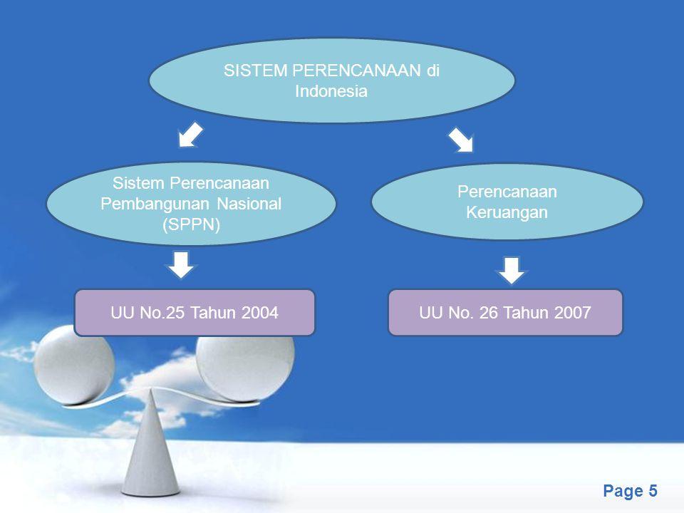 Free Powerpoint Templates Page 5 SISTEM PERENCANAAN di Indonesia Sistem Perencanaan Pembangunan Nasional (SPPN) Perencanaan Keruangan UU No.25 Tahun 2