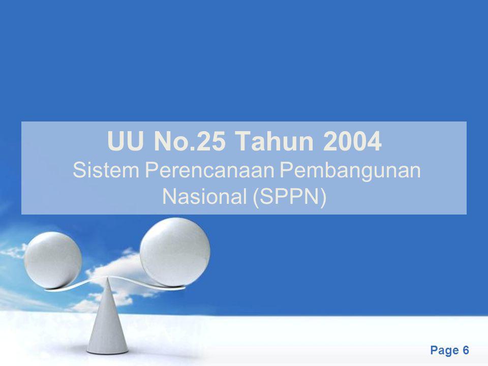Free Powerpoint Templates Page 6 UU No.25 Tahun 2004 Sistem Perencanaan Pembangunan Nasional (SPPN)