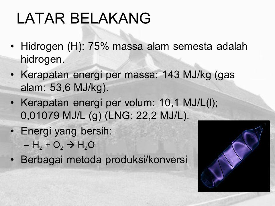 Steam reforming –CH 4 + H 2 O  CO + 3H 2 (700–1100 o C) Oksidasi parsial –C n H m + n/2O 2  nCO + m/2H 2 Elektrolisis –2 H 2 O(aq)  2 H 2 (g) + O 2 (g) Fotoelektrolisis –Penggunaan fotokatalis untuk memisahkan hidrogen dan oksigen dari molekul air PRODUKSI HIDROGEN (Skala Besar)