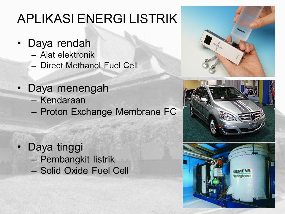Daya rendah –Alat elektronik –Direct Methanol Fuel Cell Daya menengah –Kendaraan –Proton Exchange Membrane FC Daya tinggi –Pembangkit listrik –Solid O